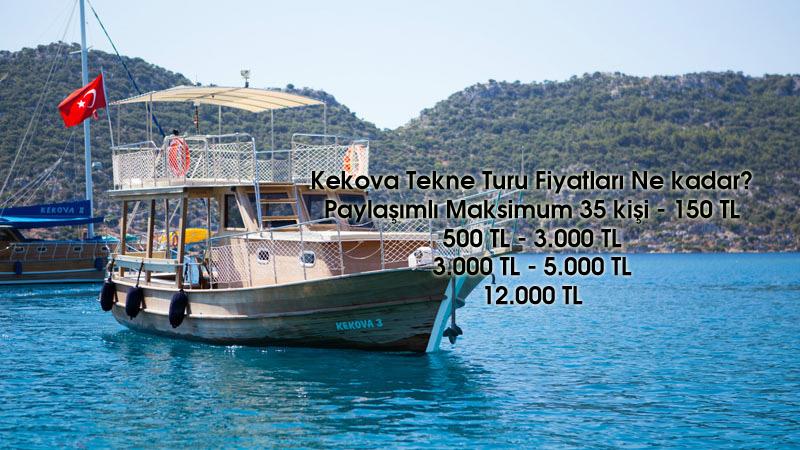 Kekova Tekne Turu Fiyatları Ne kadar